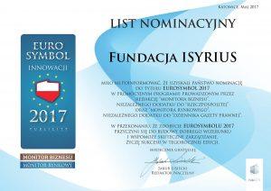 List nominacyjny Isyrius Symbol Innowacji 2017 Euro Symbol